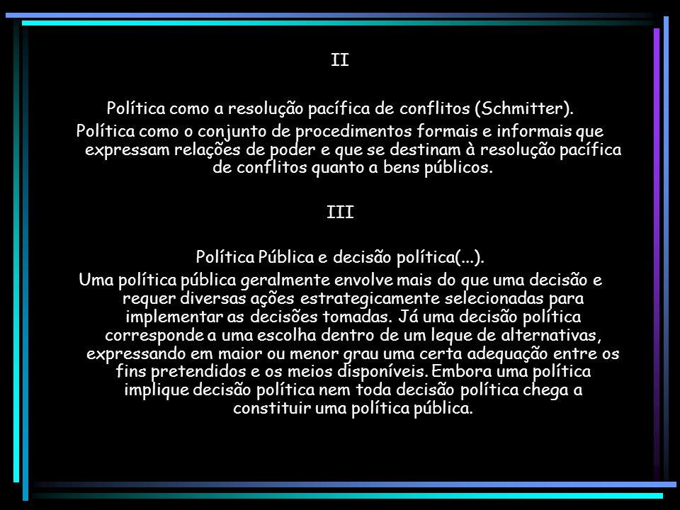 II Política como a resolução pacífica de conflitos (Schmitter).