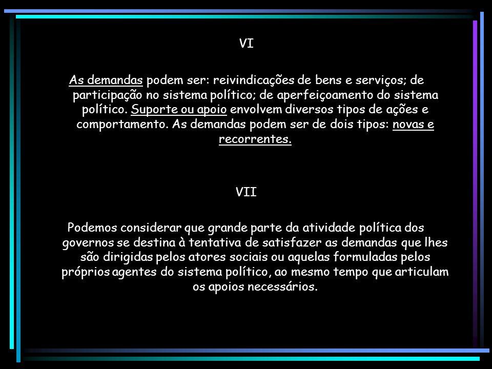 VI As demandas podem ser: reivindicações de bens e serviços; de participação no sistema político; de aperfeiçoamento do sistema político.