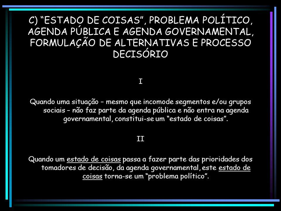 C) ESTADO DE COISAS, PROBLEMA POLÍTICO, AGENDA PÚBLICA E AGENDA GOVERNAMENTAL, FORMULAÇÃO DE ALTERNATIVAS E PROCESSO DECISÓRIO I Quando uma situação – mesmo que incomode segmentos e/ou grupos sociais – não faz parte da agenda pública e não entra na agenda governamental, constitui-se um estado de coisas.