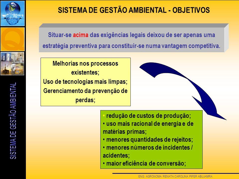 ENG. AGRONOMA RENATA CAROLINA PIFER ABUJAMRA Melhorias nos processos existentes; Uso de tecnologias mais limpas; Gerenciamento da prevenção de perdas;