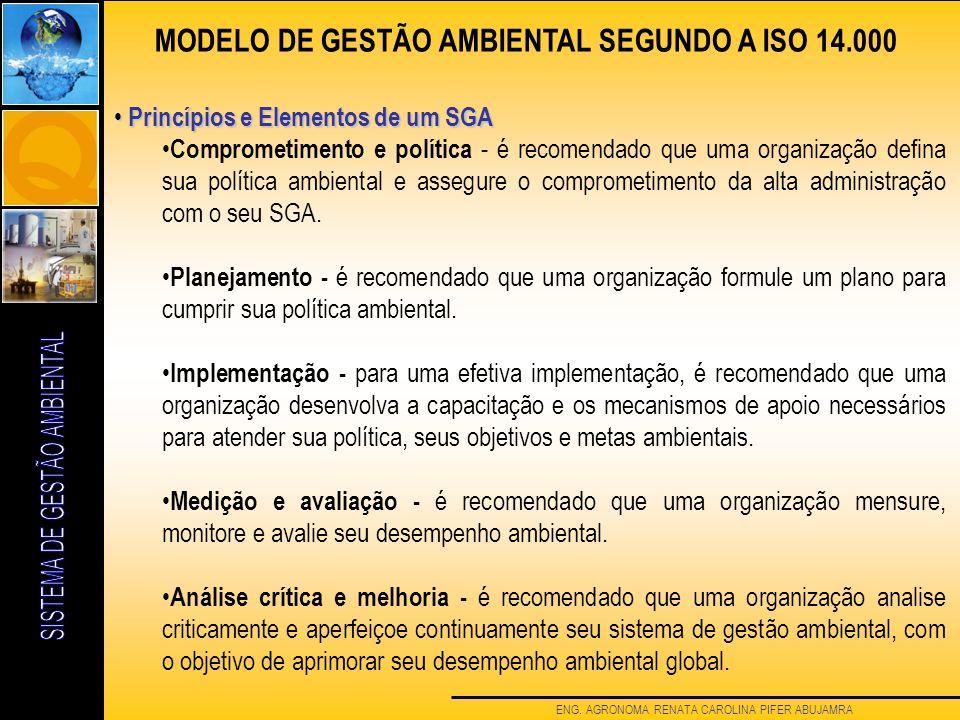 ENG. AGRONOMA RENATA CAROLINA PIFER ABUJAMRA Princípios e Elementos de um SGA Princípios e Elementos de um SGA Comprometimento e política - é recomend