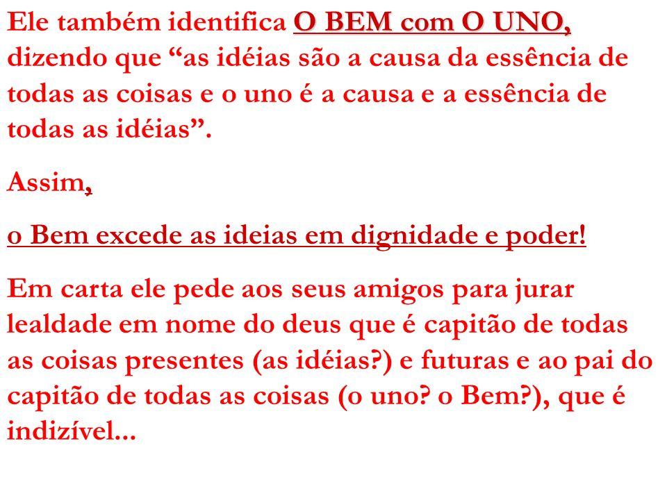 O BEM com O UNO, Ele também identifica O BEM com O UNO, dizendo que as idéias são a causa da essência de todas as coisas e o uno é a causa e a essênci