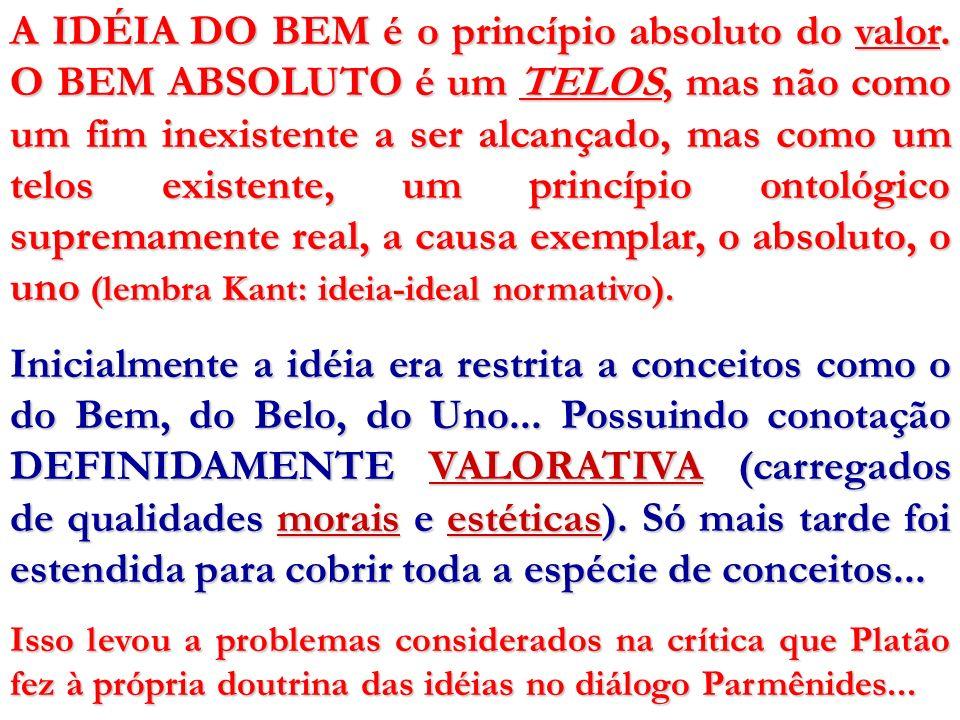 A IDÉIA DO BEM é o princípio absoluto do valor. O BEM ABSOLUTO é um TELOS, mas não como um fim inexistente a ser alcançado, mas como um telos existent