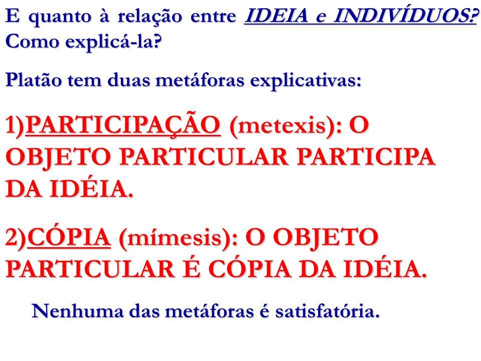 E quanto à relação entre IDEIA e INDIVÍDUOS? Como explicá-la? Platão tem duas metáforas explicativas: 1)PARTICIPAÇÃO (metexis): O OBJETO PARTICULAR PA