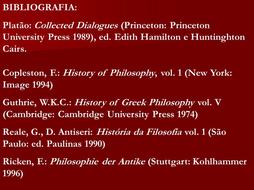 BIBLIOGRAFIA: Platão: Collected Dialogues (Princeton: Princeton University Press 1989), ed. Edith Hamilton e Huntinghton Cairs. Copleston, F.: History