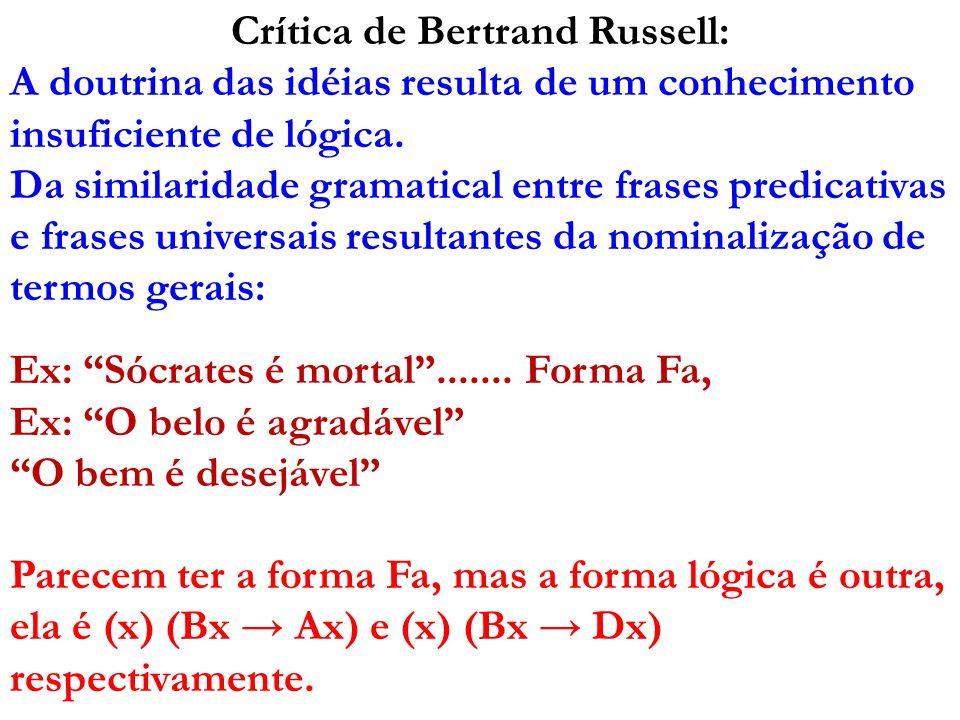 Crítica de Bertrand Russell: A doutrina das idéias resulta de um conhecimento insuficiente de lógica. Da similaridade gramatical entre frases predicat