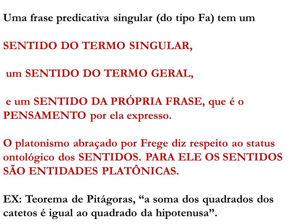 Uma frase predicativa singular (do tipo Fa) tem um SENTIDO DO TERMO SINGULAR, um SENTIDO DO TERMO GERAL, e um SENTIDO DA PRÓPRIA FRASE, que é o PENSAM
