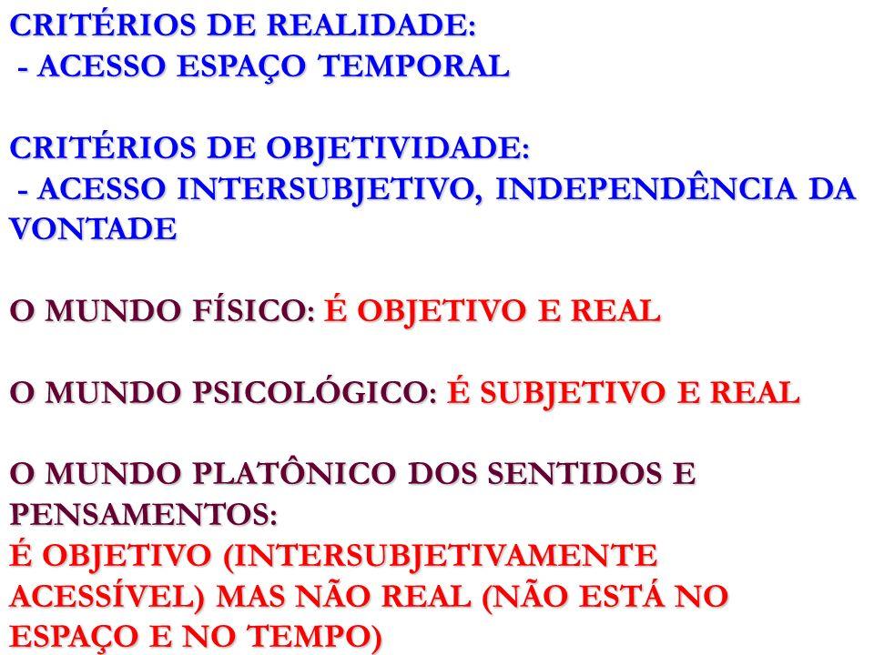 CRITÉRIOS DE REALIDADE: - ACESSO ESPAÇO TEMPORAL - ACESSO ESPAÇO TEMPORAL CRITÉRIOS DE OBJETIVIDADE: - ACESSO INTERSUBJETIVO, INDEPENDÊNCIA DA VONTADE