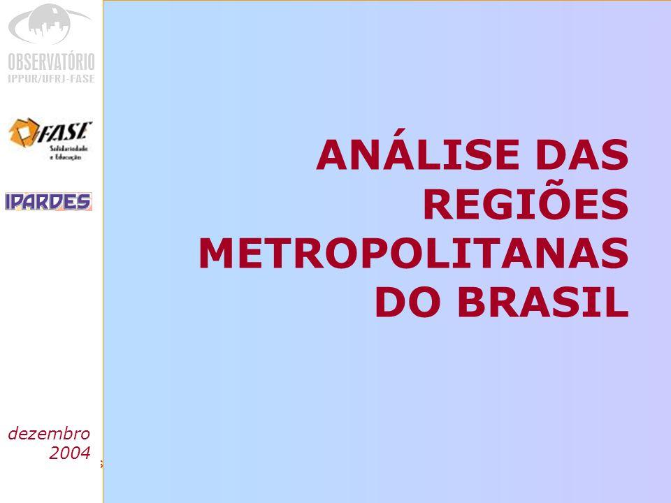 Análise das regiões metropolitanas do Brasil PADRÃO DE CONCENTRAÇÃO muito concentradas:mais de 75% dos valores de cada indicador são registrados nos pólos concentradas: concentração no pólo é inferior a 75%, sendo atingido esse patamar com a contribuição de apenas mais um município menor grau de concentração: o pólo tem que somar- se a mais de um município para atingir 75% do valor dos indicadores com raras exceções, para todos os indicadores e em todas as aglomerações, os pólos reúnem mais de 50% do valor considerado