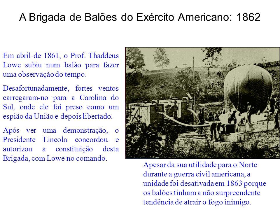 Em abril de 1861, o Prof. Thaddeus Lowe subiu num balão para fazer uma observação do tempo. Desafortunadamente, fortes ventos carregaram-no para a Car