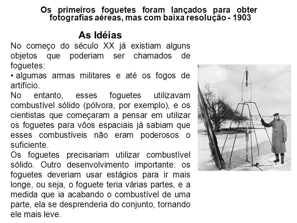 As Idéias No começo do século XX já existiam alguns objetos que poderiam ser chamados de foguetes: algumas armas militares e até os fogos de artifício