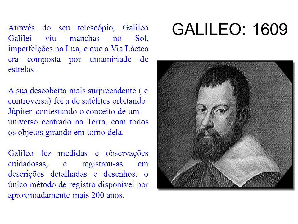 GALILEO: 1609 Através do seu telescópio, Galileo Galilei viu manchas no Sol, imperfeições na Lua, e que a Via Láctea era composta por umamiríade de es