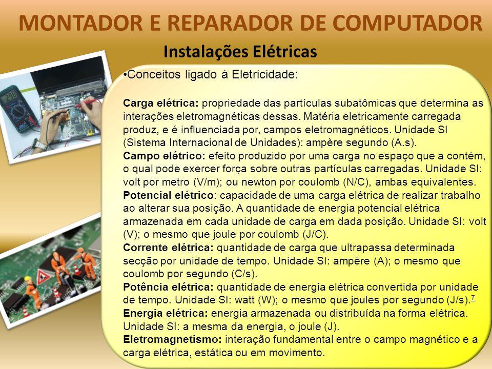 Instalações Elétricas MONTADOR E REPARADOR DE COMPUTADOR Conceitos ligado à Eletricidade: Carga elétrica: propriedade das partículas subatômicas que determina as interações eletromagnéticas dessas.
