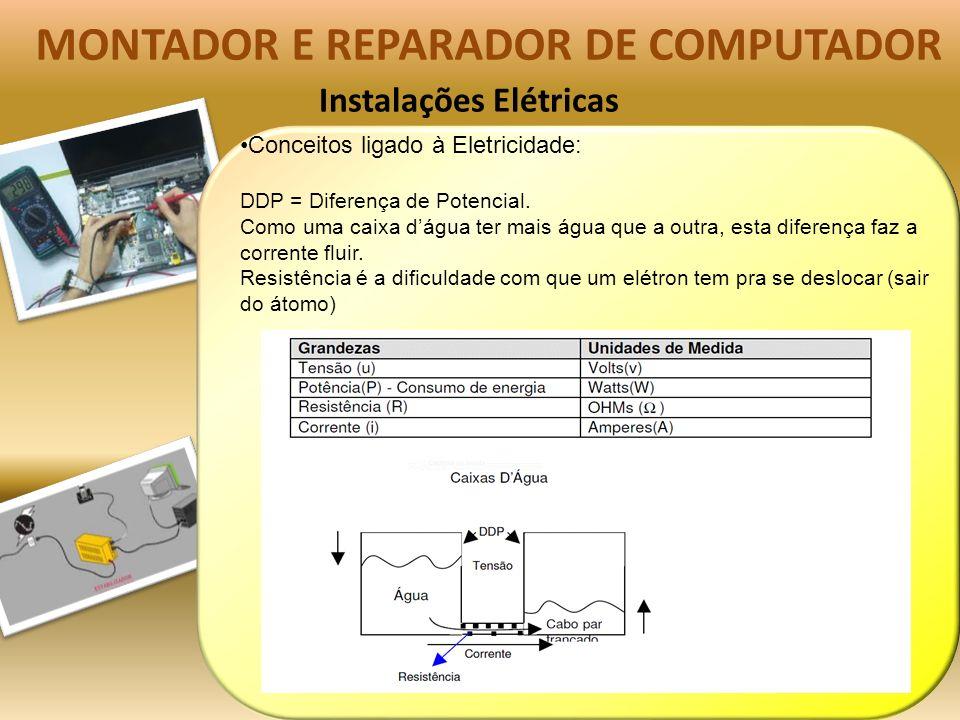 Instalações Elétricas MONTADOR E REPARADOR DE COMPUTADOR Conceitos ligado à Eletricidade: DDP = Diferença de Potencial.