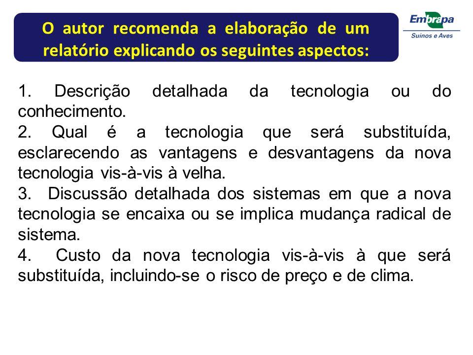 O autor recomenda a elaboração de um relatório explicando os seguintes aspectos: 1. Descrição detalhada da tecnologia ou do conhecimento. 2. Qual é a