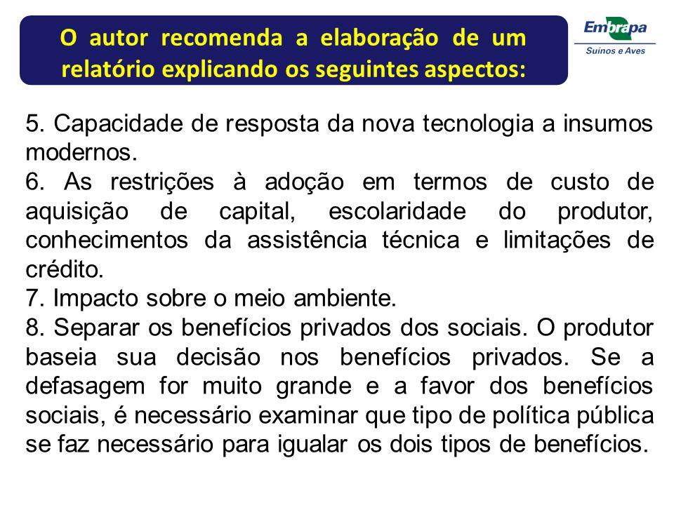O autor recomenda a elaboração de um relatório explicando os seguintes aspectos: 5. Capacidade de resposta da nova tecnologia a insumos modernos. 6. A