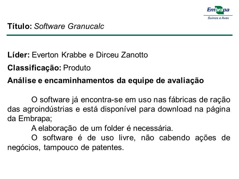 Título: Software Granucalc Líder: Everton Krabbe e Dirceu Zanotto Classificação: Produto Análise e encaminhamentos da equipe de avaliação O software j
