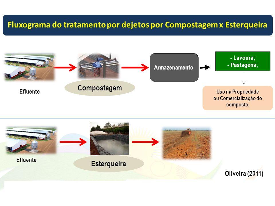 Armazenamento - Lavoura; - Pastagens; Efluente Compostagem Uso na Propriedade ou Comercialização do composto. Oliveira (2011) Efluente Esterqueira 31