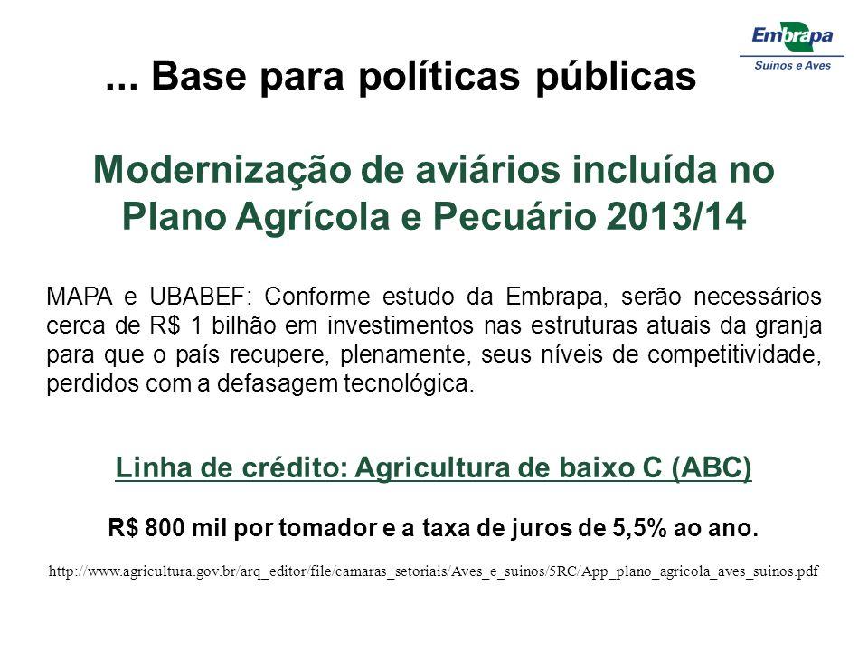 Modernização de aviários incluída no Plano Agrícola e Pecuário 2013/14 MAPA e UBABEF: Conforme estudo da Embrapa, serão necessários cerca de R$ 1 bilh
