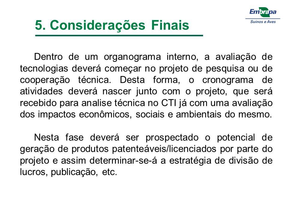 5. Considerações Finais Dentro de um organograma interno, a avaliação de tecnologias deverá começar no projeto de pesquisa ou de cooperação técnica. D