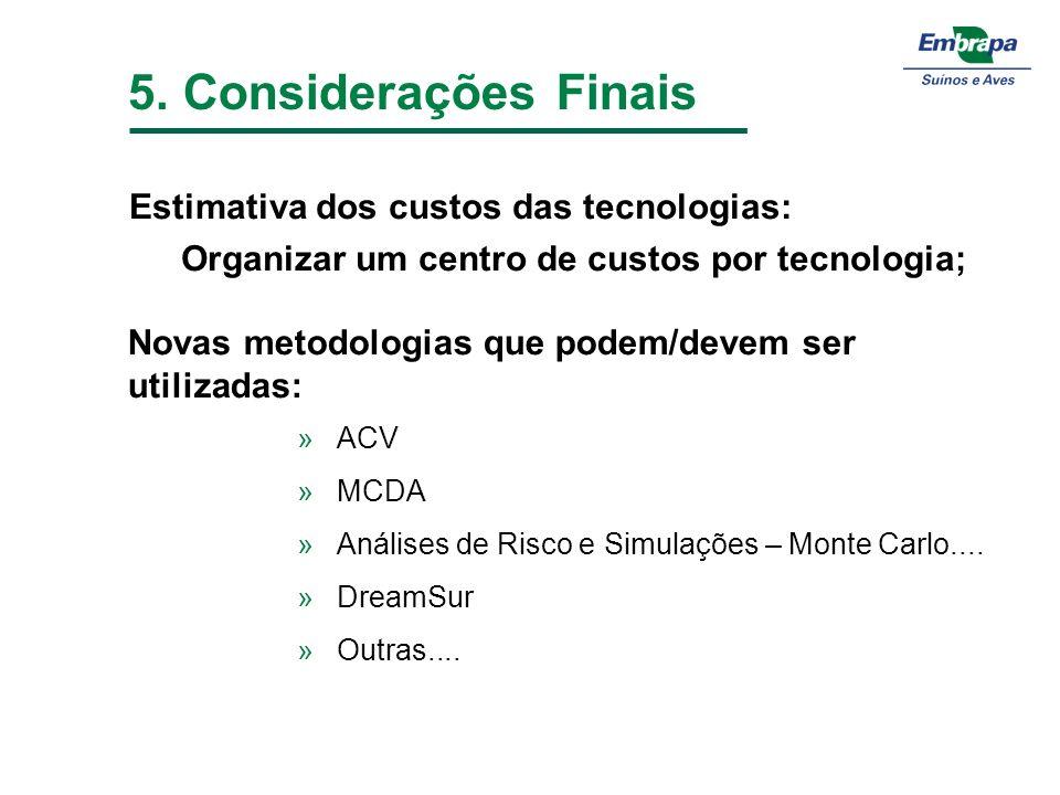 5. Considerações Finais Estimativa dos custos das tecnologias: Organizar um centro de custos por tecnologia; »ACV »MCDA »Análises de Risco e Simulaçõe
