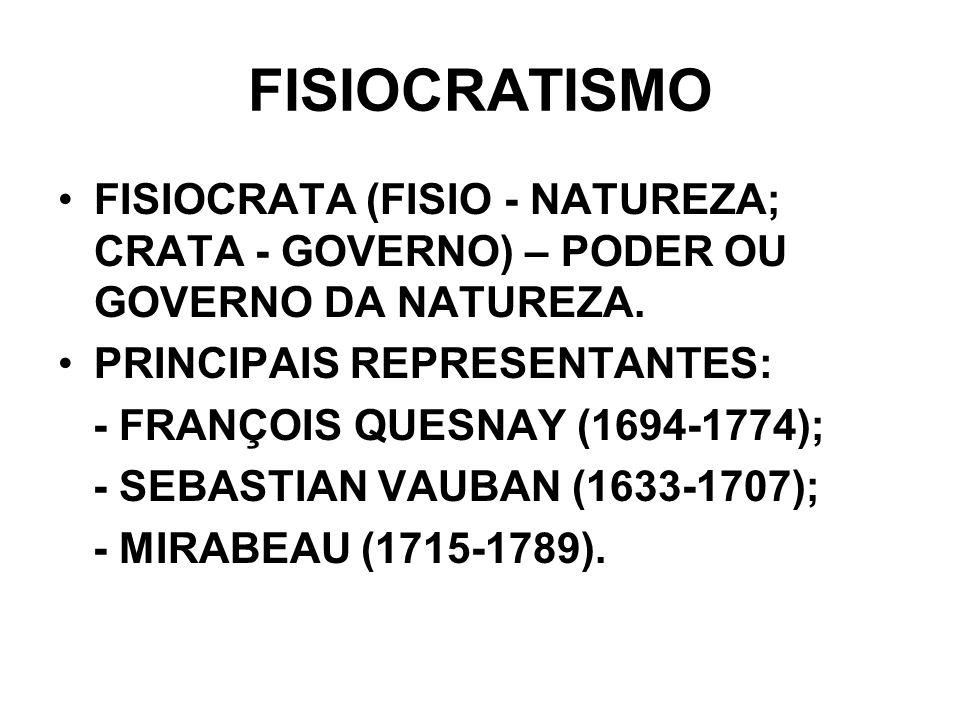 FISIOCRATISMO FISIOCRATA (FISIO - NATUREZA; CRATA - GOVERNO) – PODER OU GOVERNO DA NATUREZA. PRINCIPAIS REPRESENTANTES: - FRANÇOIS QUESNAY (1694-1774)