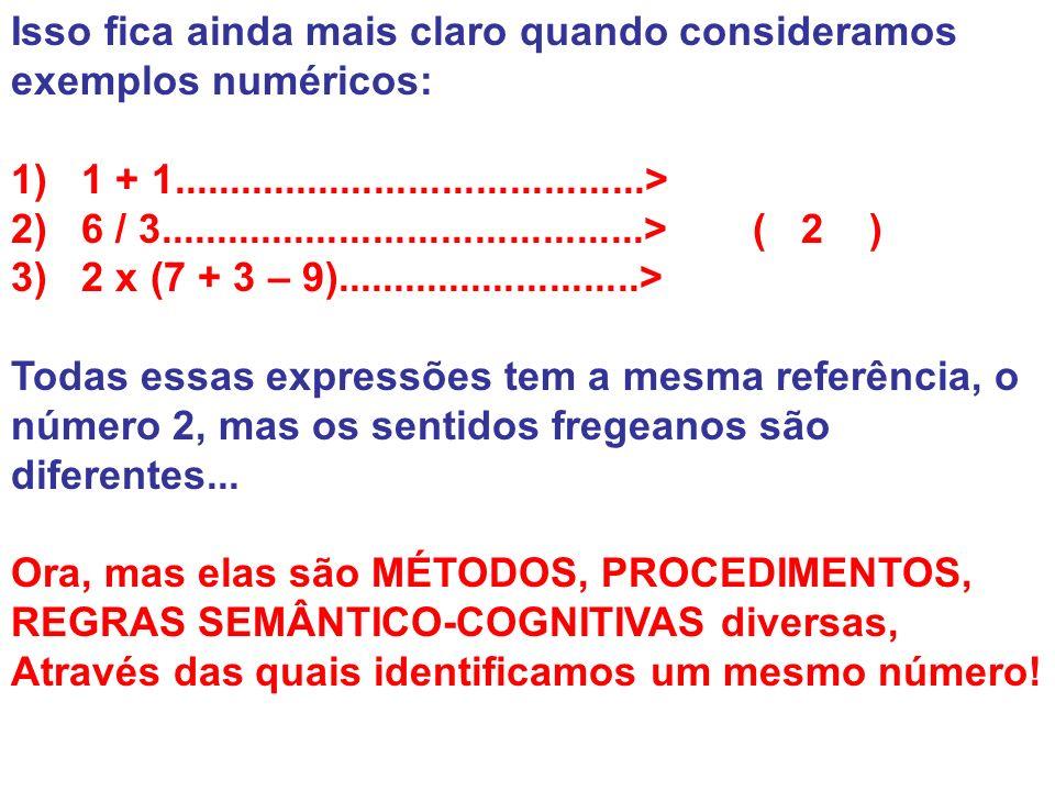 Isso fica ainda mais claro quando consideramos exemplos numéricos: 1) 1 + 1..........................................> 2) 6 / 3.......................