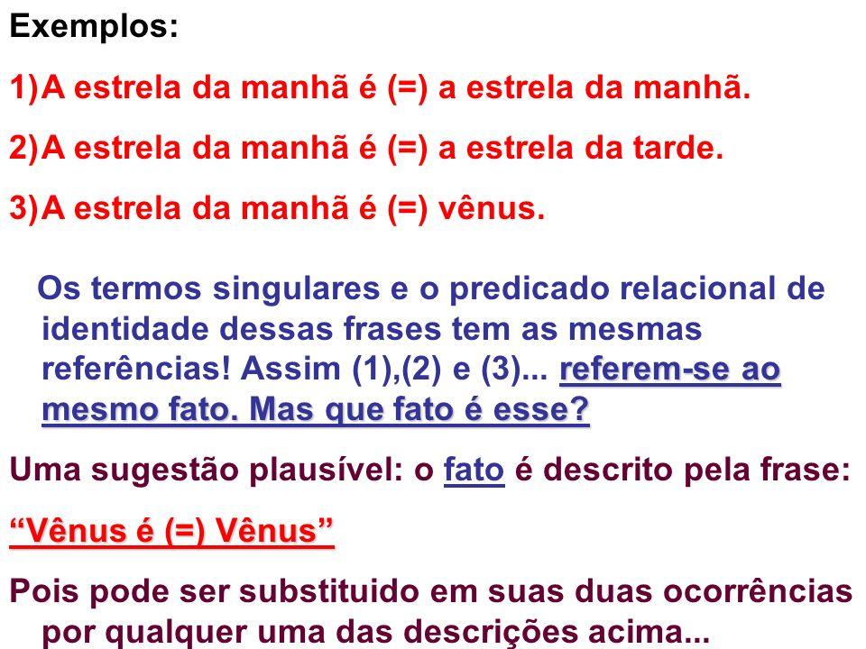Exemplos: 1)A estrela da manhã é (=) a estrela da manhã. 2)A estrela da manhã é (=) a estrela da tarde. 3)A estrela da manhã é (=) vênus. referem-se a