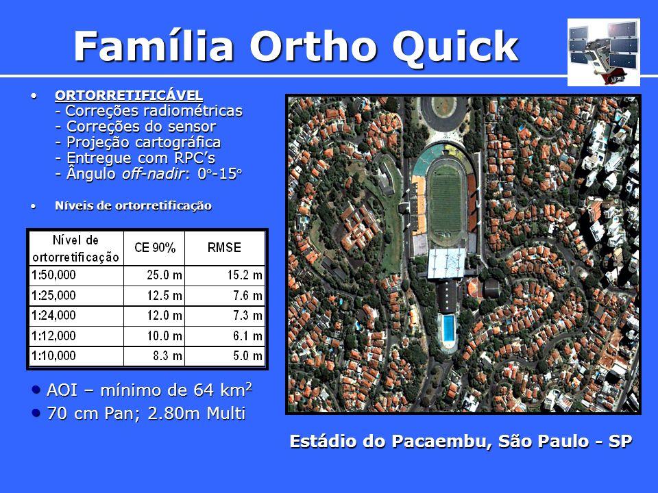 ORTORRETIFICÁVEL - Correções radiométricas - Correções do sensor - Projeção cartográfica - Entregue com RPCs - Ângulo off-nadir: 0-15ORTORRETIFICÁVEL
