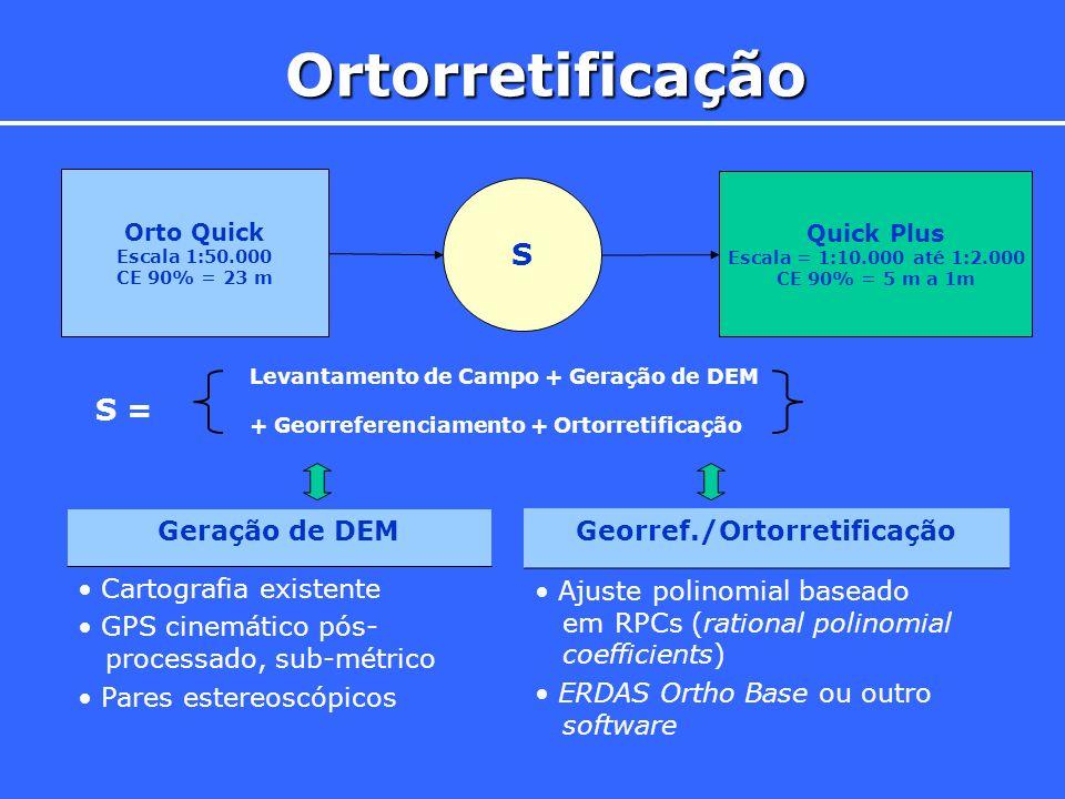 Ortorretificação Orto Quick Escala 1:50.000 CE 90% = 23 m Quick Plus Escala = 1:10.000 até 1:2.000 CE 90% = 5 m a 1m S Levantamento de Campo + Geração