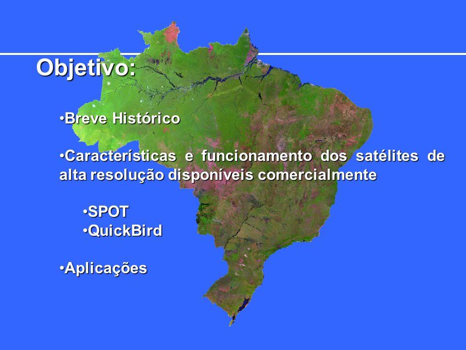 Comparativo Geral de Satélites de Alta Resolução Satélite Spot 5 ErosIkonosQuickBird Altitude 820 km 480 km 680 km 450 km Tempo de revisita 3 – 5 dias 1 – 2 dias 2.3 – 3.4 dias 2 – 2.9 dias Largura de cena 60 km 12.5 km 11 km 16.5 km Resolução 2.5 m 1.8 m 1.0 m 0.7 m Área Pixel 6.25 m² 3.24m²1.0m²0.49m² Bandas espectrais Pan +4 Multi Pan