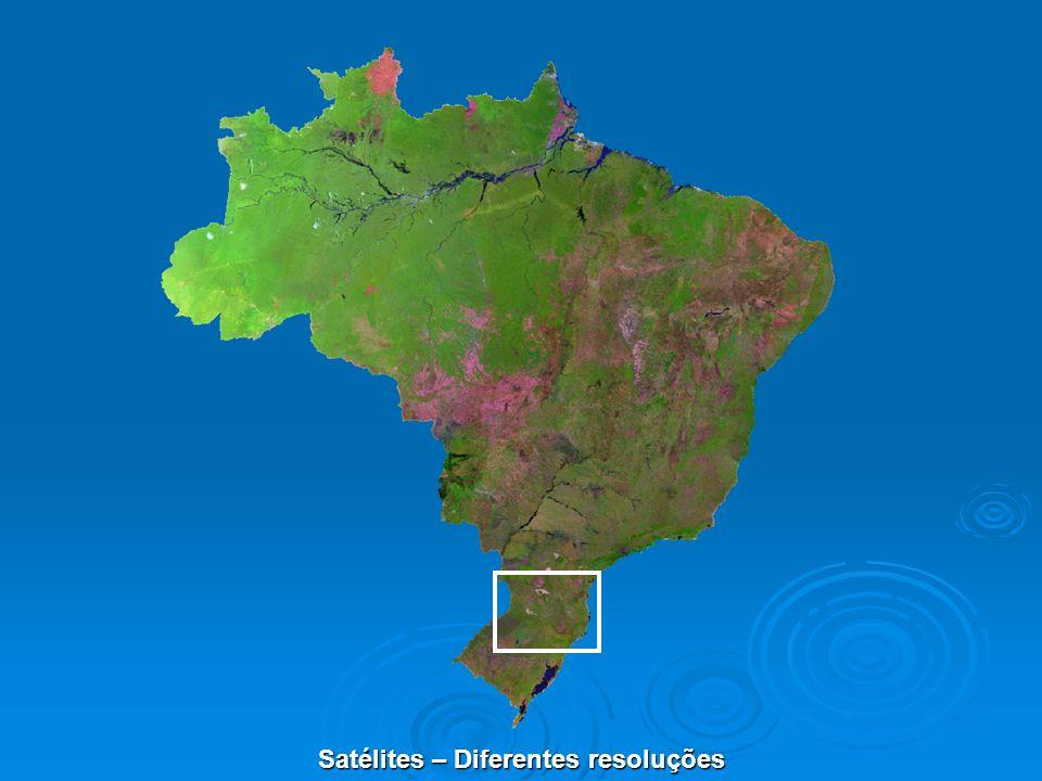 N de Banda / Definição Banda Espectral Resolução Espacial, coleta a ±25º 1 (Azul) 0.45 – 0.52 m 2.8 m 2 (Verde) 0.52 - 0.60 m 2.8 m 3 (Vermelho) 0.63 - 0.69 m 2.8 m 4 (Infra-Vermelho Próximo) 0.76 - 0.90 m 2.8 m Pancromática 0.45 - 0.90 m 0.7 m Bandas Espectrais – VNIR (Visible and Near Infra-Red)