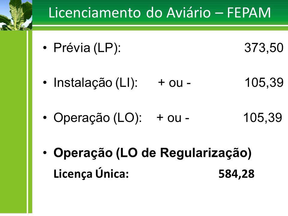 Licenciamento do Aviário – FEPAM Prévia (LP):373,50 Instalação (LI): + ou -105,39 Operação (LO): + ou - 105,39 Operação (LO de Regularização) Licença