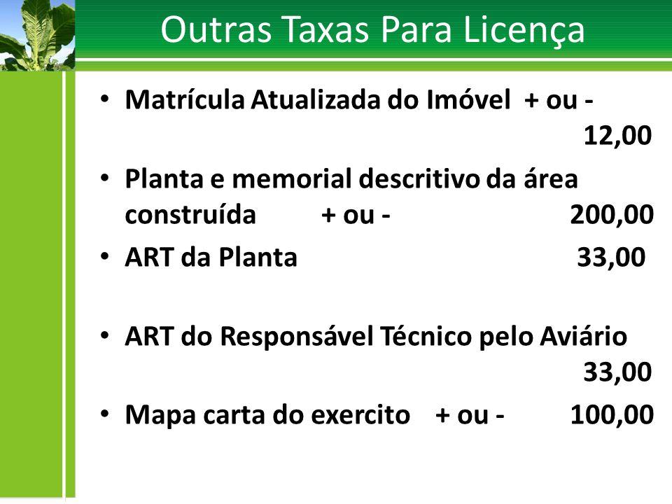 Outras Taxas Para Licença Matrícula Atualizada do Imóvel + ou - 12,00 Planta e memorial descritivo da área construída + ou -200,00 ART da Planta 33,00