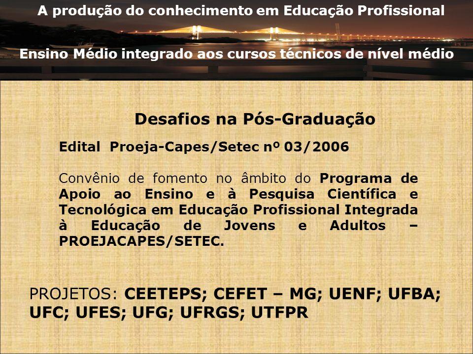 A produção do conhecimento em Educação Profissional Ensino Médio integrado aos cursos técnicos de nível médio Desafios na Pós-Graduação Edital Proeja-