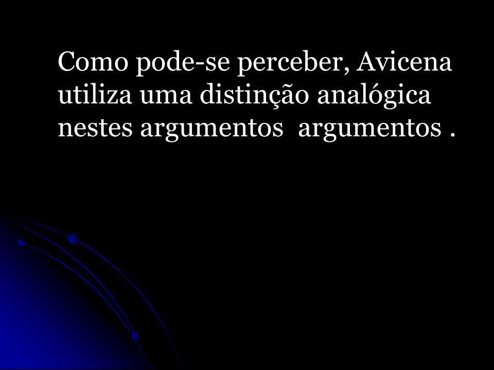 Como pode-se perceber, Avicena utiliza uma distinção analógica nestes argumentos argumentos.