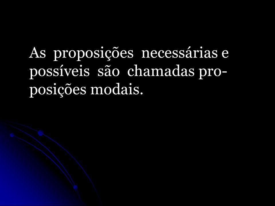 As proposições necessárias e possíveis são chamadas pro- posições modais.