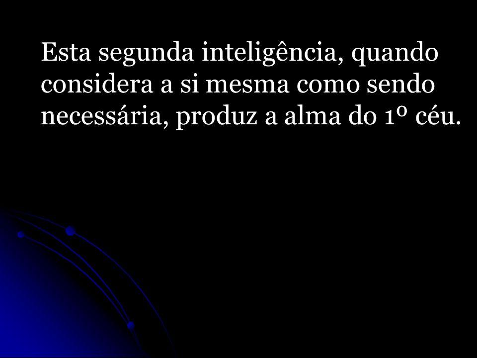 Esta segunda inteligência, quando considera a si mesma como sendo necessária, produz a alma do 1º céu.