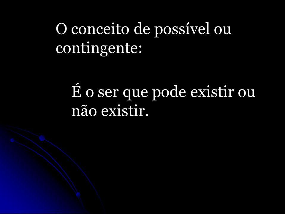 O conceito de possível ou contingente: É o ser que pode existir ou não existir.