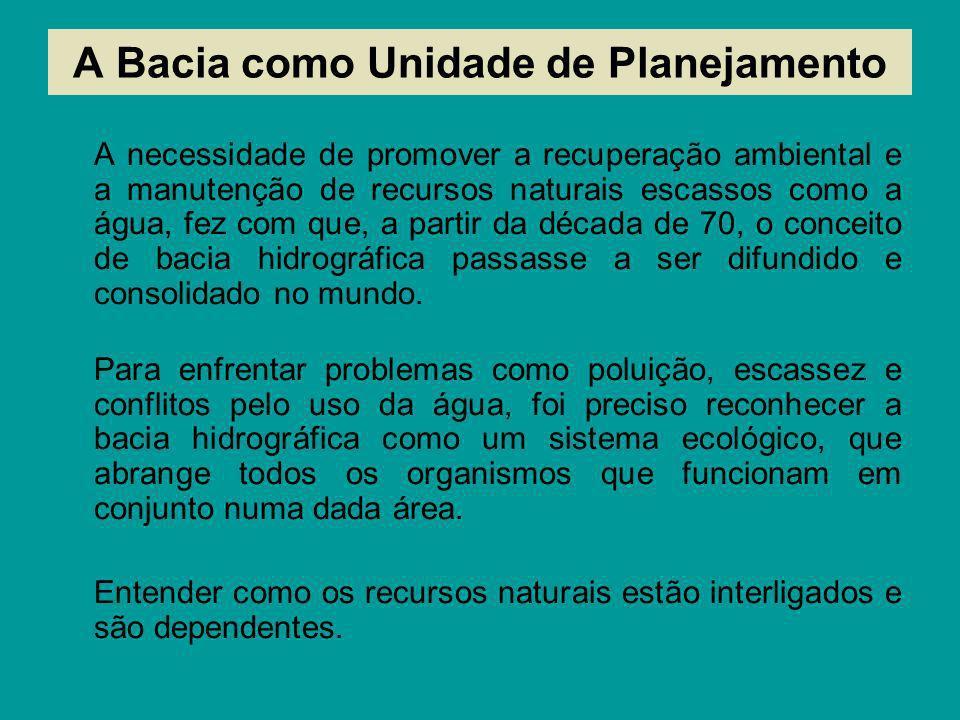 1- Amazônica 2 - Tocantins Araguaia 3 - São Francisco 4 - Atlântico NE Ocidental 5 - Atlântico NE Oriental 6 - Parnaíba 7 - Atlântico Leste 8 - Atlântico SE 9 - Paraná 10 - Paraguai 11 - Uruguai 12 - Atlântico Sul A Divisão Hidrográfica Nacional Com o objetivo de respeitar as diversidades sociais, econômicas e ambientais do País O Conselho Nacional de Recursos Hídricos e a ANA – propuseram a definição de 12 principais regiões hidrográficas brasileiras.