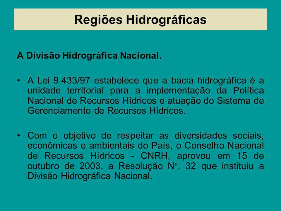 Regiões Hidrográficas A Divisão Hidrográfica Nacional. A Lei 9.433/97 estabelece que a bacia hidrográfica é a unidade territorial para a implementação