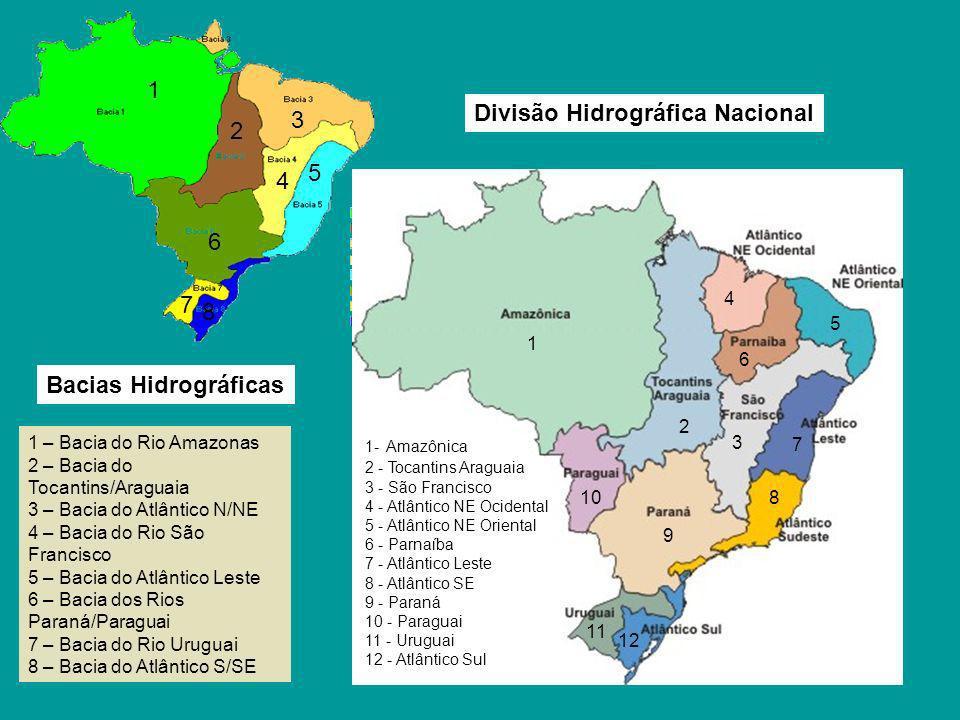 1 – Bacia do Rio Amazonas 2 – Bacia do Tocantins/Araguaia 3 – Bacia do Atlântico N/NE 4 – Bacia do Rio São Francisco 5 – Bacia do Atlântico Leste 6 –