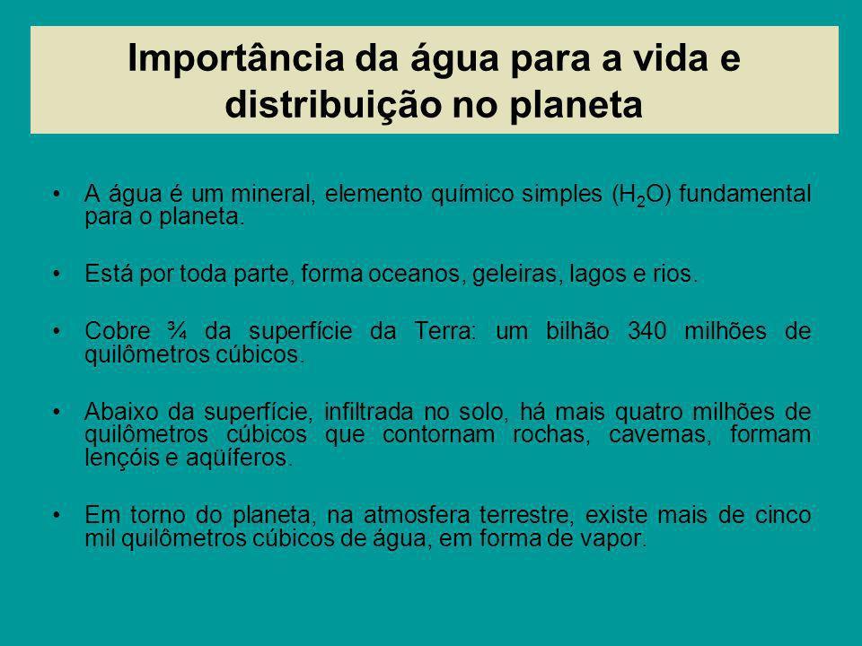 Importância da água para a vida e distribuição no planeta A água é um mineral, elemento químico simples (H 2 O) fundamental para o planeta. Está por t