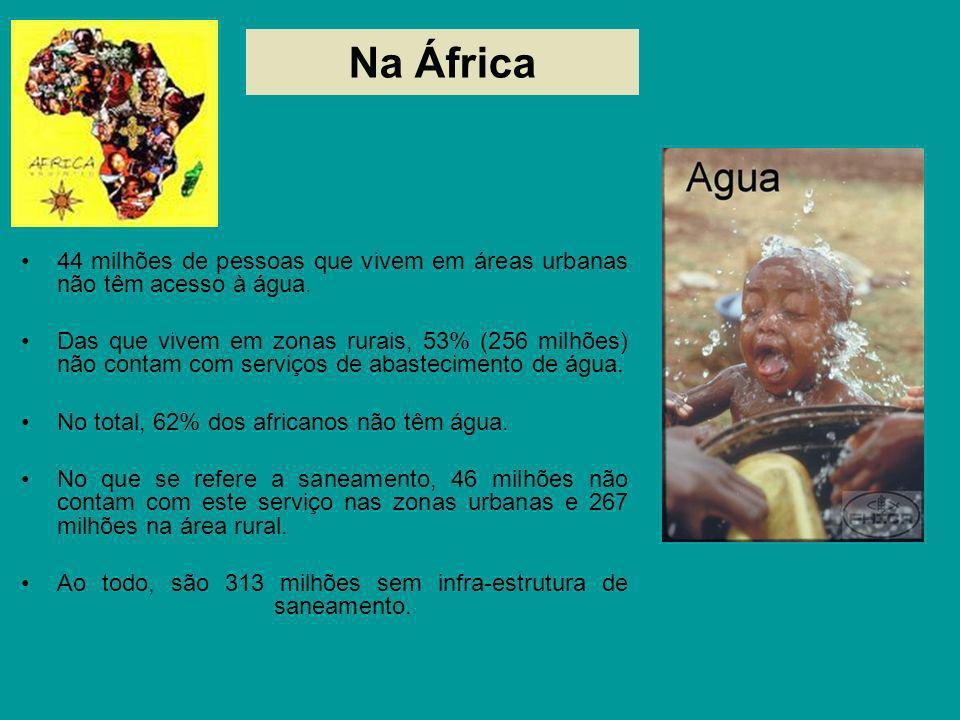 Na África 44 milhões de pessoas que vivem em áreas urbanas não têm acesso à água. Das que vivem em zonas rurais, 53% (256 milhões) não contam com serv