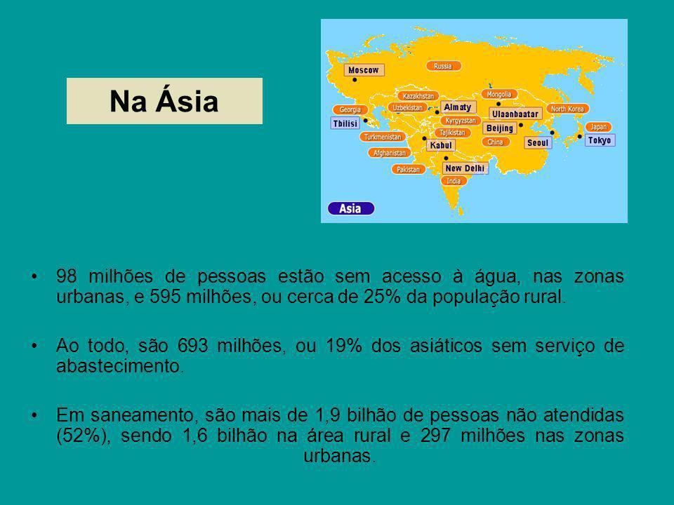 Na Ásia 98 milhões de pessoas estão sem acesso à água, nas zonas urbanas, e 595 milhões, ou cerca de 25% da população rural. Ao todo, são 693 milhões,