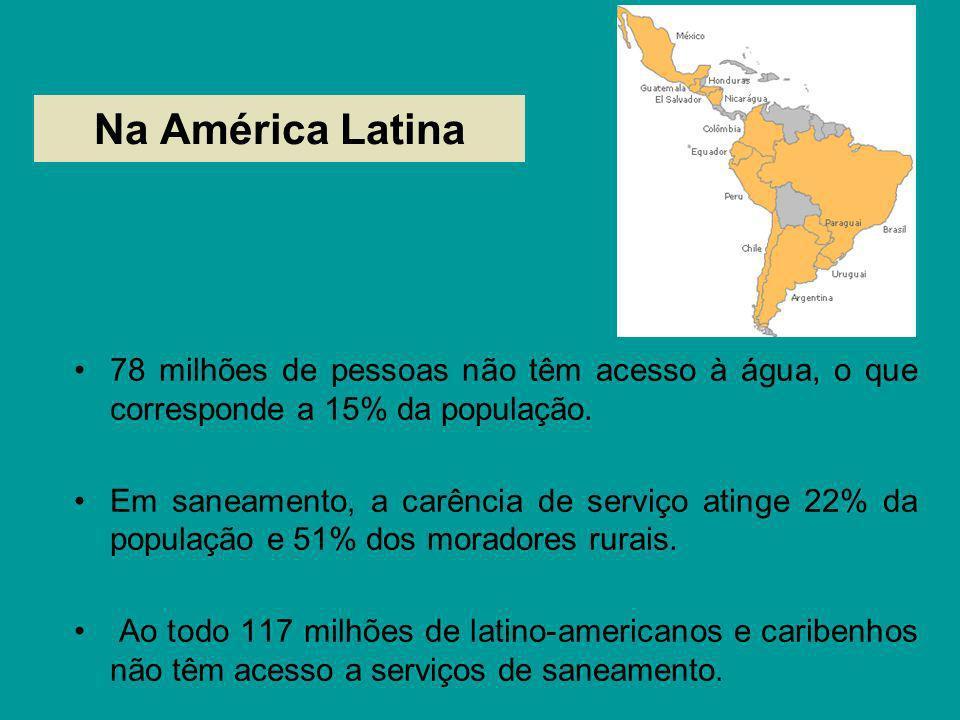 Na América Latina 78 milhões de pessoas não têm acesso à água, o que corresponde a 15% da população. Em saneamento, a carência de serviço atinge 22% d