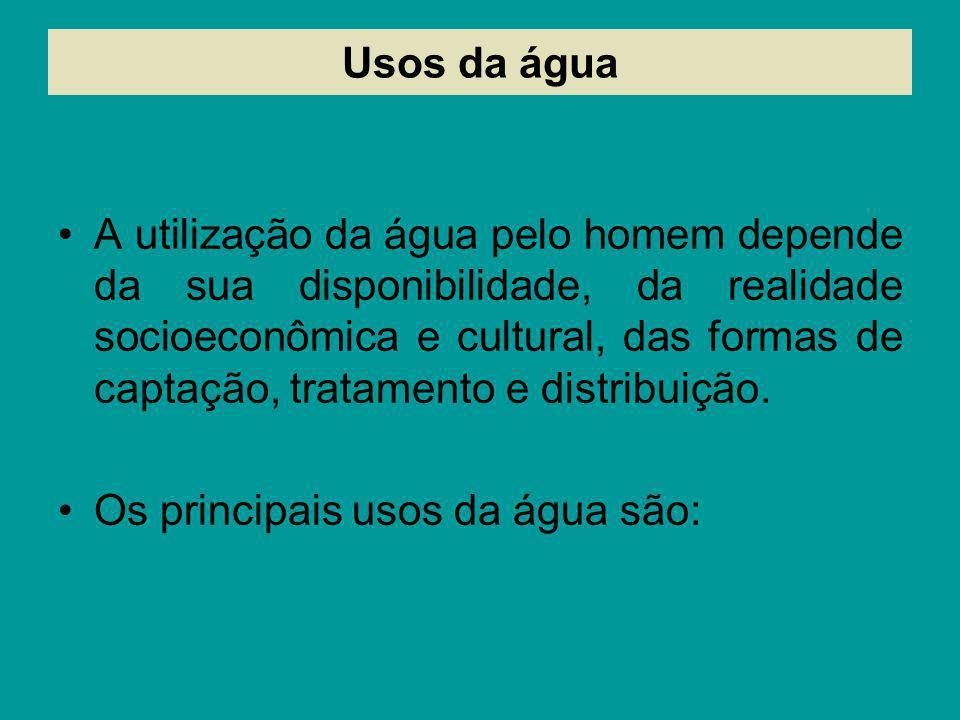 Usos da água A utilização da água pelo homem depende da sua disponibilidade, da realidade socioeconômica e cultural, das formas de captação, tratament