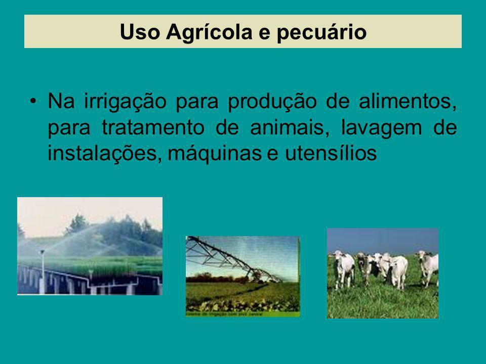 Uso Agrícola e pecuário Na irrigação para produção de alimentos, para tratamento de animais, lavagem de instalações, máquinas e utensílios