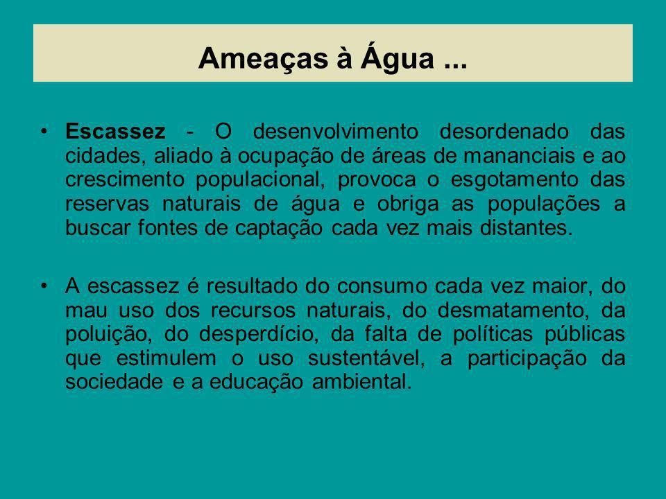Ameaças à Água... Escassez - O desenvolvimento desordenado das cidades, aliado à ocupação de áreas de mananciais e ao crescimento populacional, provoc