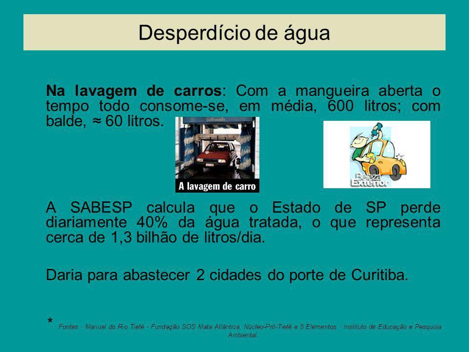 Desperdício de água Na lavagem de carros: Com a mangueira aberta o tempo todo consome-se, em média, 600 litros; com balde, 60 litros. A SABESP calcula